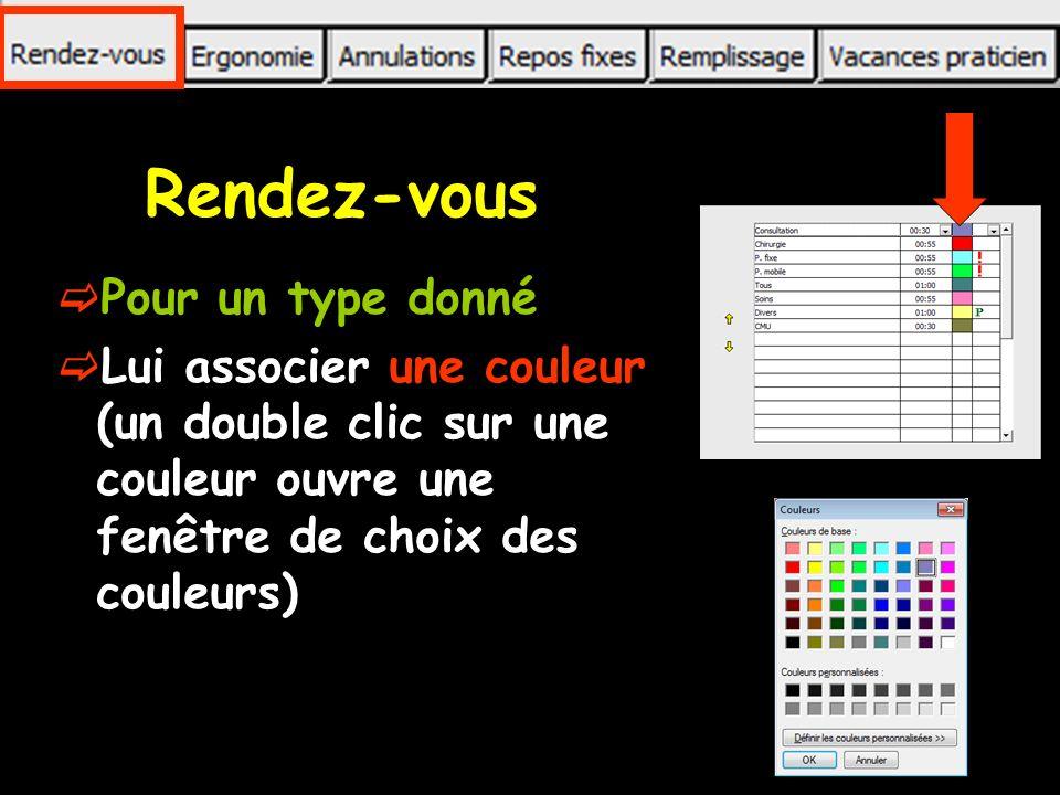 Rendez-vous Pour un type donné Lui associer une couleur (un double clic sur une couleur ouvre une fenêtre de choix des couleurs)