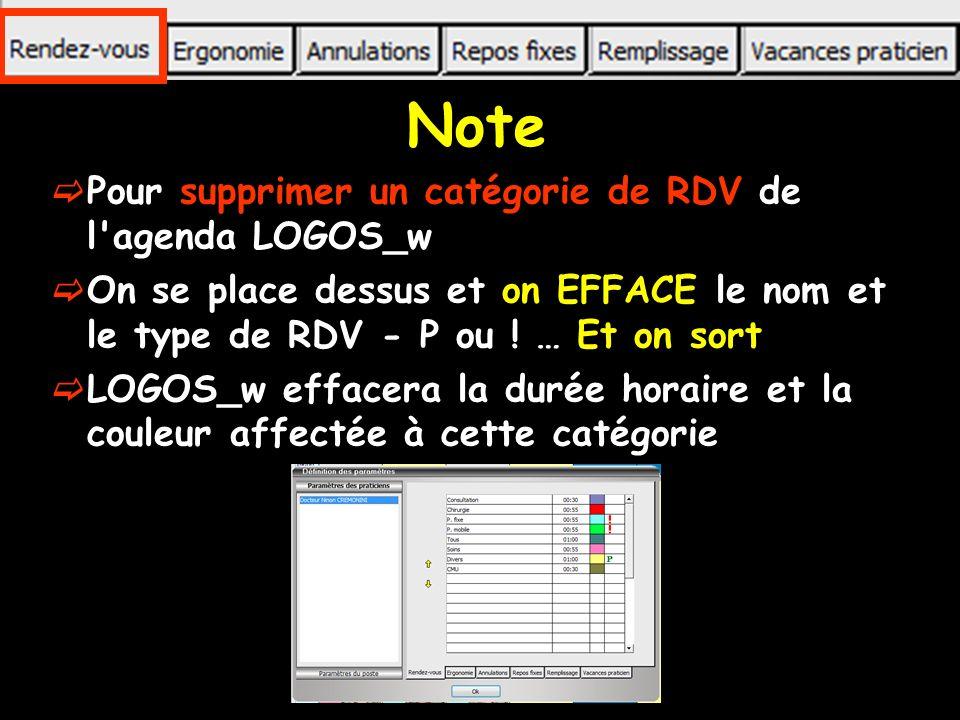 Note Pour supprimer un catégorie de RDV de l agenda LOGOS_w On se place dessus et on EFFACE le nom et le type de RDV - P ou .
