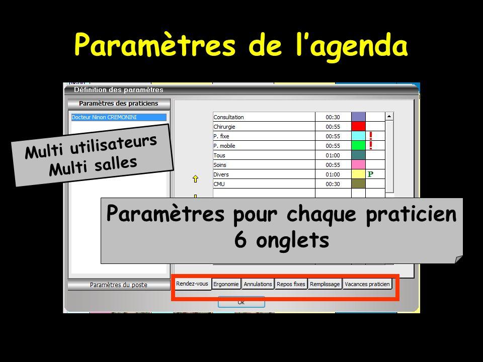 Paramètres de lagenda Paramètres pour chaque praticien 6 onglets Multi utilisateurs Multi salles