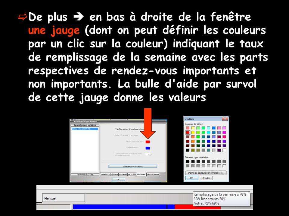De plus en bas à droite de la fenêtre une jauge (dont on peut définir les couleurs par un clic sur la couleur) indiquant le taux de remplissage de la semaine avec les parts respectives de rendez-vous importants et non importants.