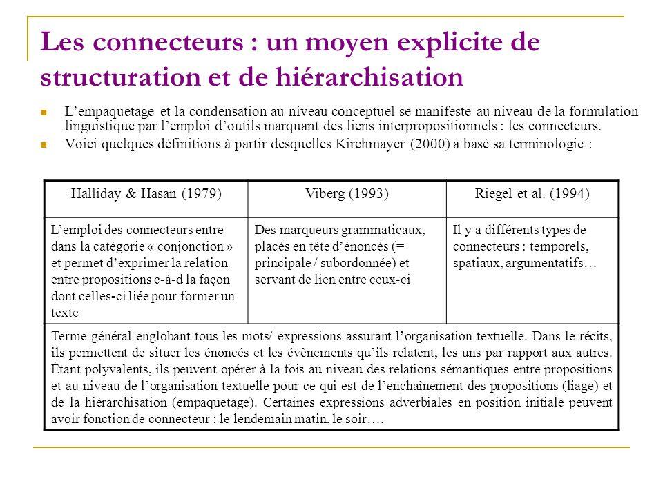 Les connecteurs : un moyen explicite de structuration et de hiérarchisation Lempaquetage et la condensation au niveau conceptuel se manifeste au nivea