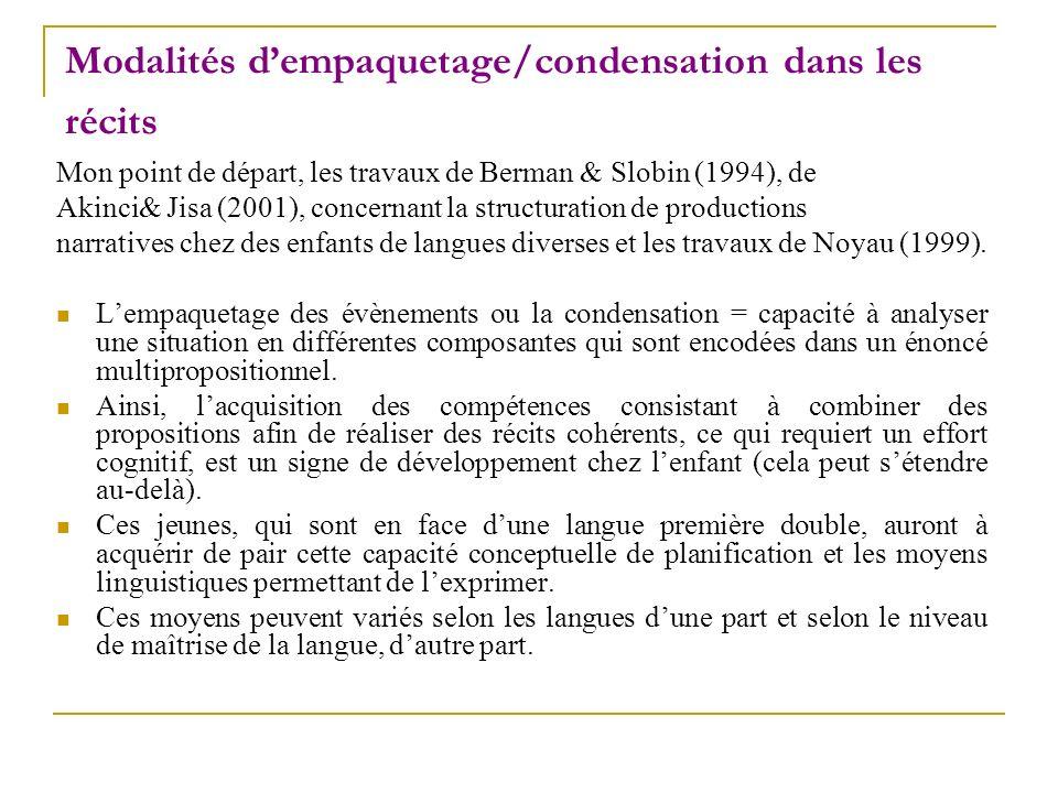 Modalités dempaquetage/condensation dans les récits Mon point de départ, les travaux de Berman & Slobin (1994), de Akinci& Jisa (2001), concernant la