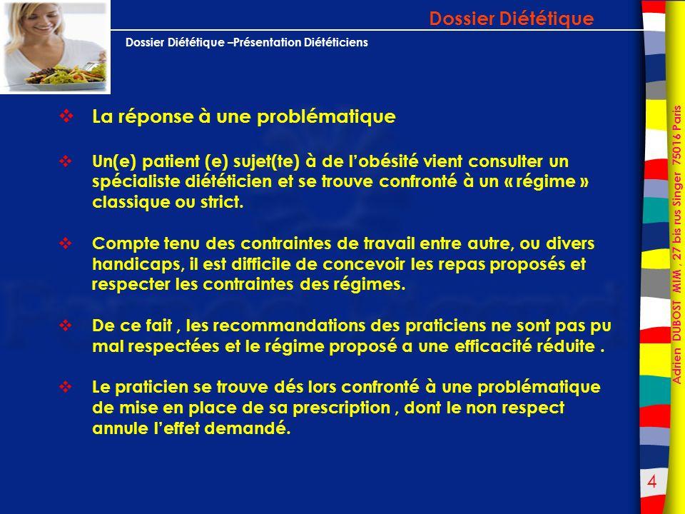 35 Adrien DUBOST MIM, 27 bis rus Singer 75016 Paris Dossier Diététique –Présentation Diététiciens ANNEXES