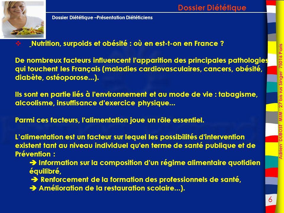 7 Adrien DUBOST MIM, 27 bis rus Singer 75016 Paris Dossier Diététique –Présentation Diététiciens Dossier Diététique Nutrition, surpoids et obésité : où en est-t-on en France .
