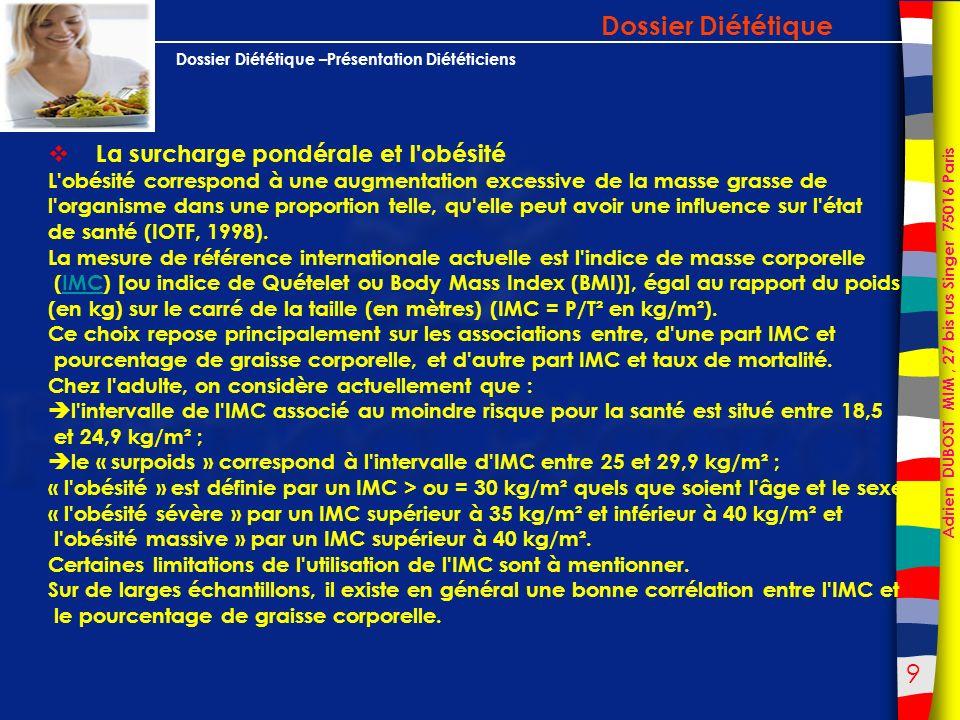 40 Adrien DUBOST MIM, 27 bis rus Singer 75016 Paris Dossier Diététique –Présentation Diététiciens Calendrier des ventes /consommation de Fruits :.