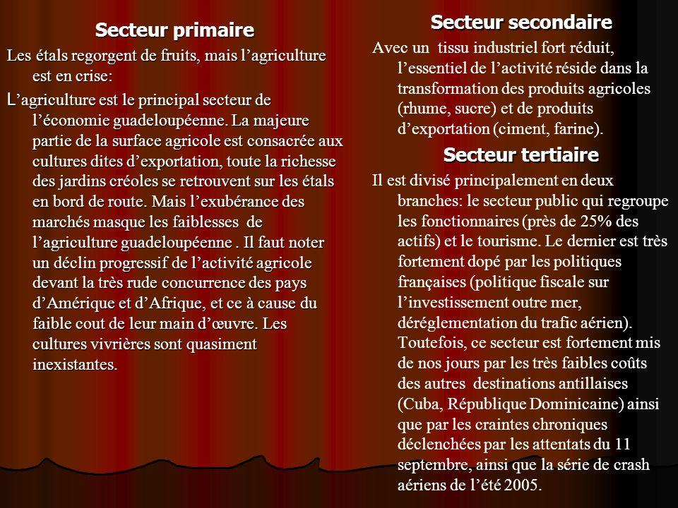 Secteur primaire Les étals regorgent de fruits, mais lagriculture est en crise: L agriculture est le principal secteur de léconomie guadeloupéenne. La