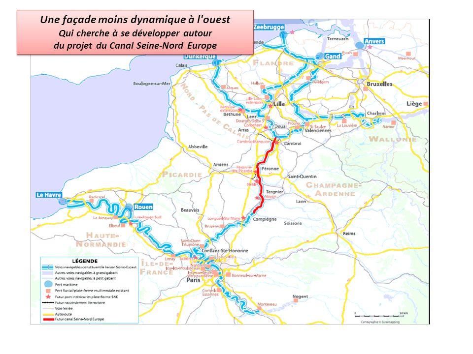 Une façade moins dynamique à l'ouest Qui cherche à se développer autour du projet du Canal Seine-Nord Europe Une façade moins dynamique à l'ouest Qui