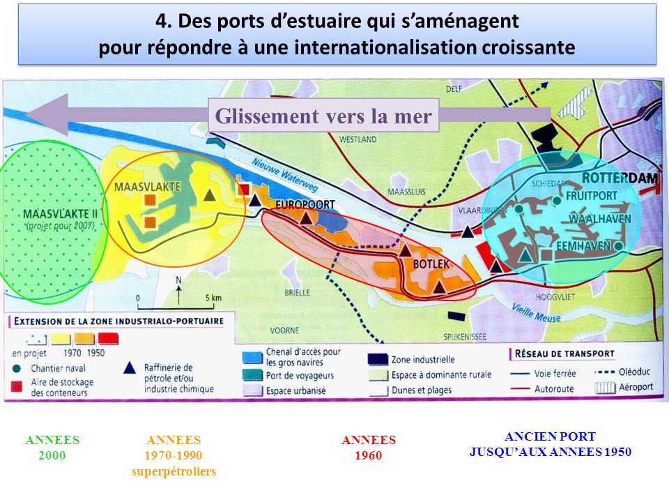 ANCIEN PORT JUSQUAUX ANNEES 1950 ANNEES 1960 ANNEES 1970-1990 superpétroliers ANNEES 2000 Glissement vers la mer 4. Des ports destuaire qui saménagent