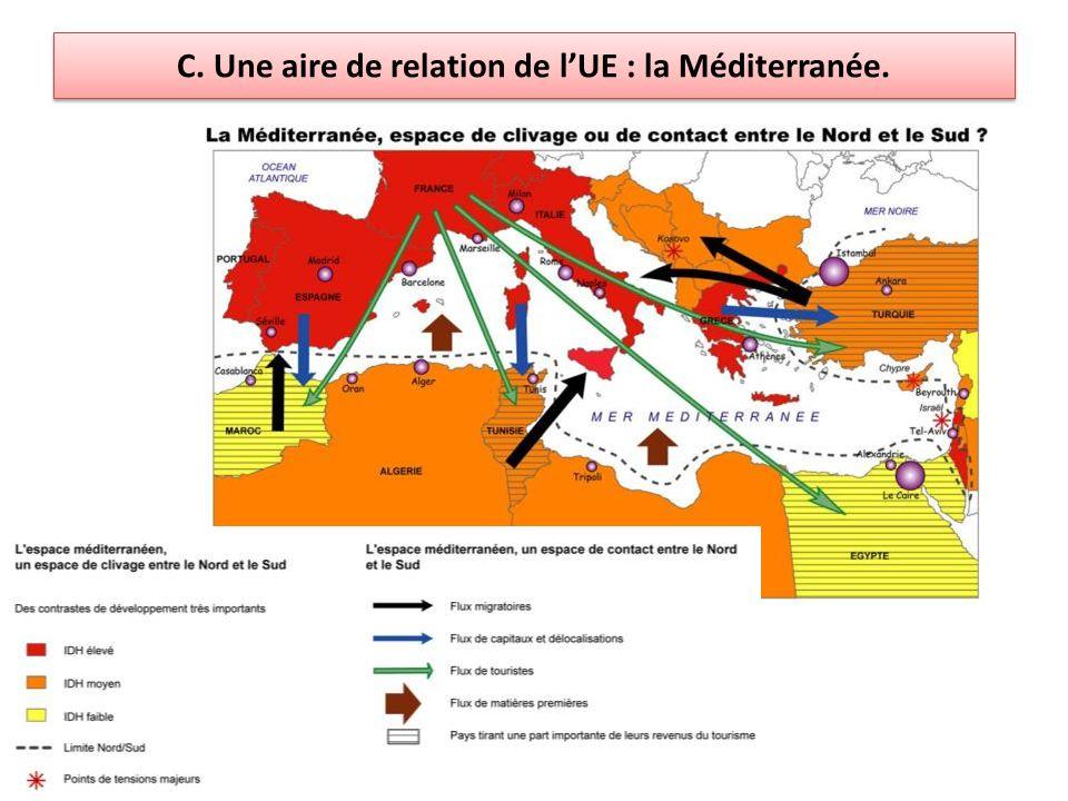 C. Une aire de relation de lUE : la Méditerranée.