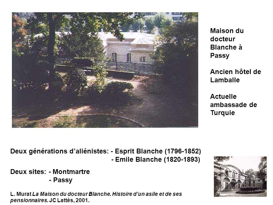 Maison du docteur Blanche à Passy Ancien hôtel de Lamballe Actuelle ambassade de Turquie Deux générations daliénistes: - Esprit Blanche (1796-1852) - Emile Blanche (1820-1893) Deux sites: - Montmartre - Passy L.
