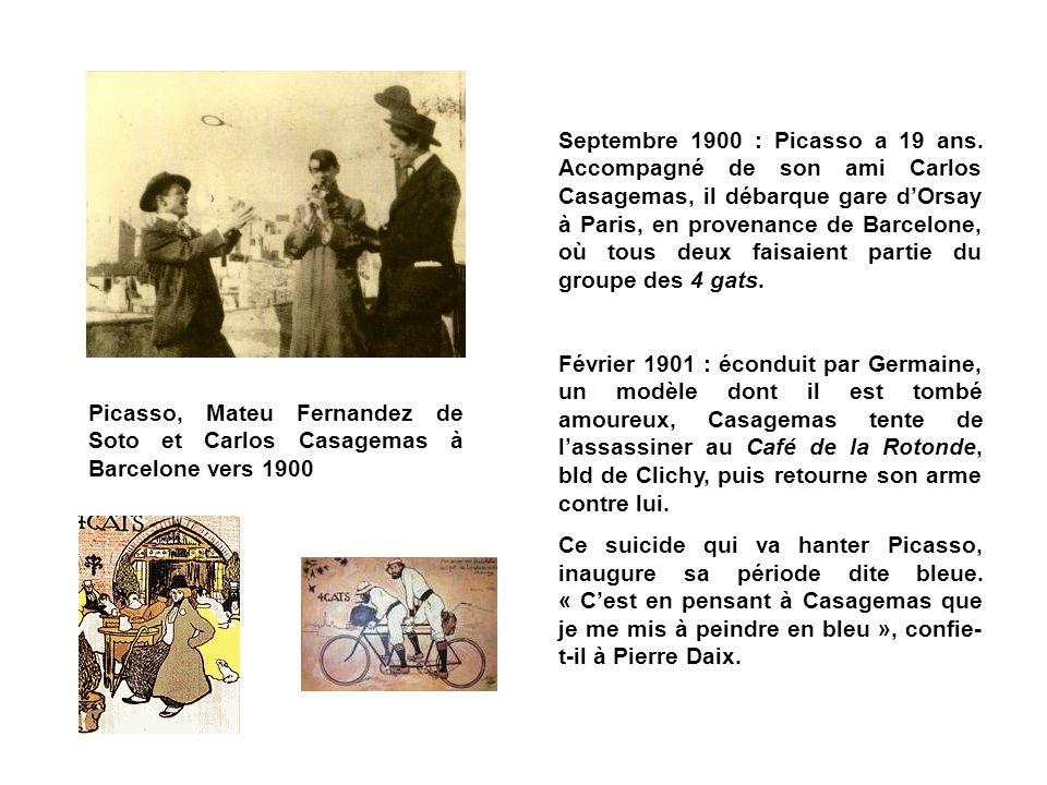 Picasso, Mateu Fernandez de Soto et Carlos Casagemas à Barcelone vers 1900 Septembre 1900 : Picasso a 19 ans. Accompagné de son ami Carlos Casagemas,