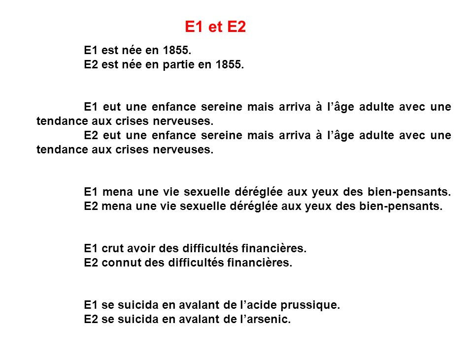 E1 est née en 1855. E2 est née en partie en 1855. E1 eut une enfance sereine mais arriva à lâge adulte avec une tendance aux crises nerveuses. E2 eut