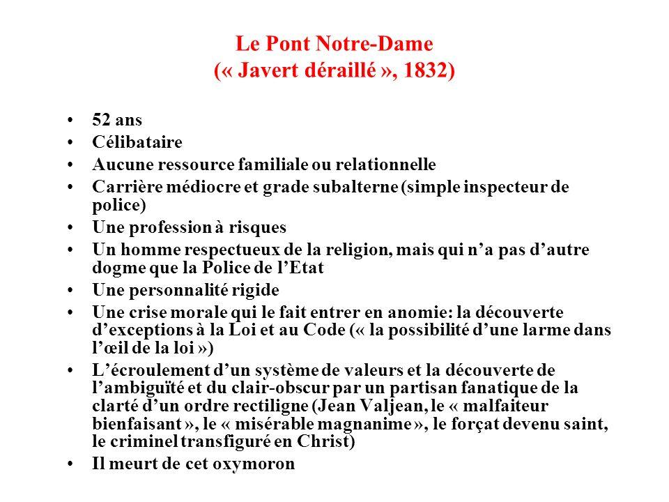 Le Pont Notre-Dame (« Javert déraillé », 1832) 52 ans Célibataire Aucune ressource familiale ou relationnelle Carrière médiocre et grade subalterne (s