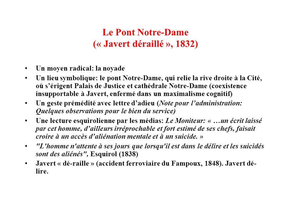 Le Pont Notre-Dame (« Javert déraillé », 1832) Un moyen radical: la noyade Un lieu symbolique: le pont Notre-Dame, qui relie la rive droite à la Cité,