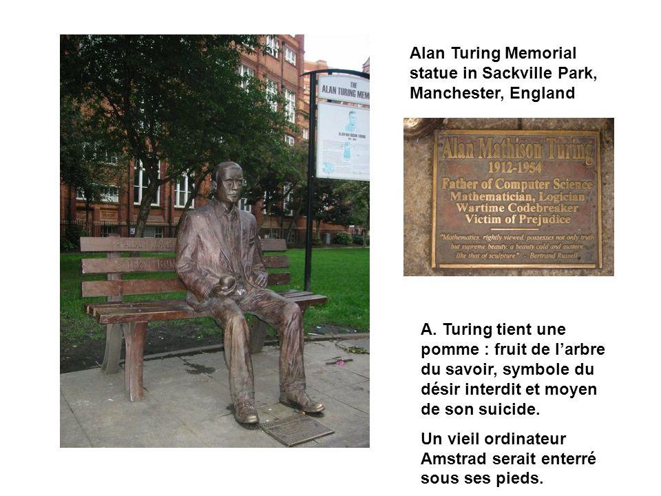 Alan Turing Memorial statue in Sackville Park, Manchester, England A. Turing tient une pomme : fruit de larbre du savoir, symbole du désir interdit et