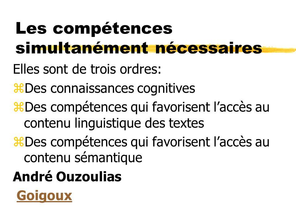 Les compétences simultanément nécessaires Elles sont de trois ordres: zDes connaissances cognitives zDes compétences qui favorisent laccès au contenu