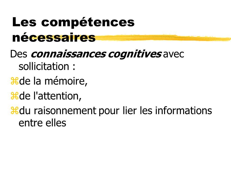 Les compétences nécessaires Des connaissances cognitives avec sollicitation : zde la mémoire, zde l'attention, zdu raisonnement pour lier les informat