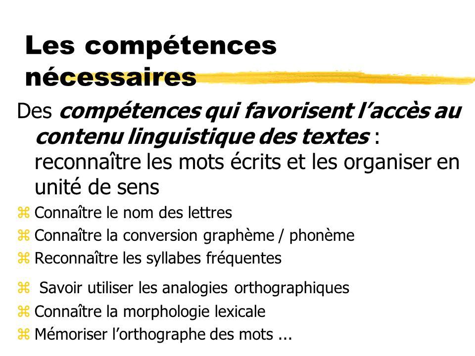 Les compétences nécessaires Des compétences qui favorisent laccès au contenu linguistique des textes : reconnaître les mots écrits et les organiser en