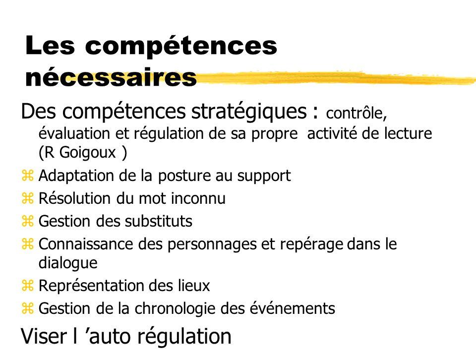 Les compétences nécessaires Des compétences stratégiques : contrôle, évaluation et régulation de sa propre activité de lecture (R Goigoux ) zAdaptatio