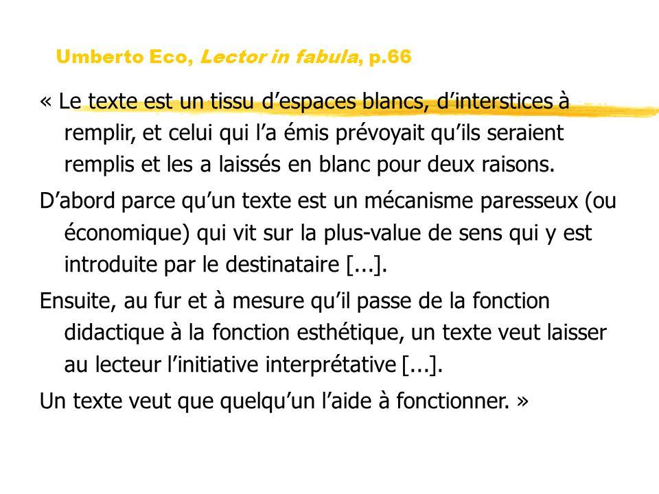 Umberto Eco, Lector in fabula, p.66 « Le texte est un tissu despaces blancs, dinterstices à remplir, et celui qui la émis prévoyait quils seraient rem