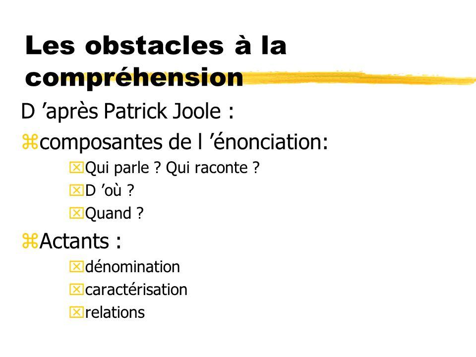 Les obstacles à la compréhension D après Patrick Joole : zcomposantes de l énonciation: xQui parle ? Qui raconte ? xD où ? xQuand ? zActants : xdénomi