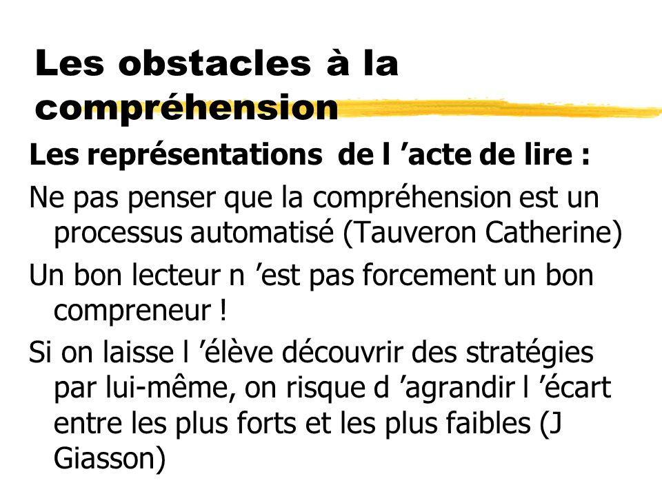 Les obstacles à la compréhension Les représentations de l acte de lire : Ne pas penser que la compréhension est un processus automatisé (Tauveron Cath