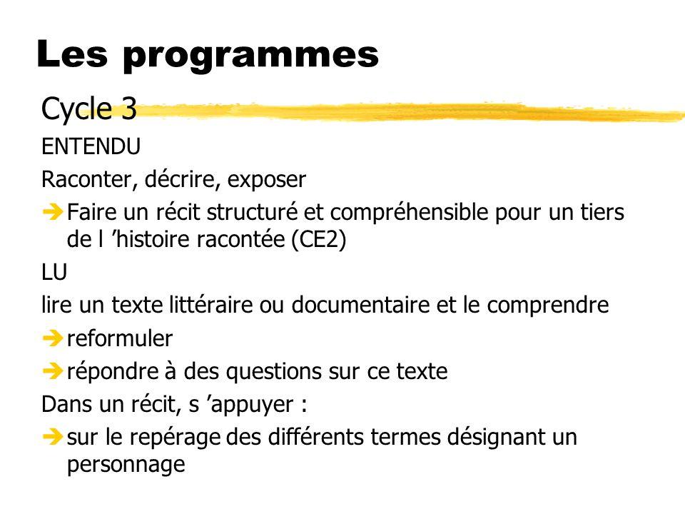 Les programmes Cycle 3 ENTENDU Raconter, décrire, exposer èFaire un récit structuré et compréhensible pour un tiers de l histoire racontée (CE2) LU li