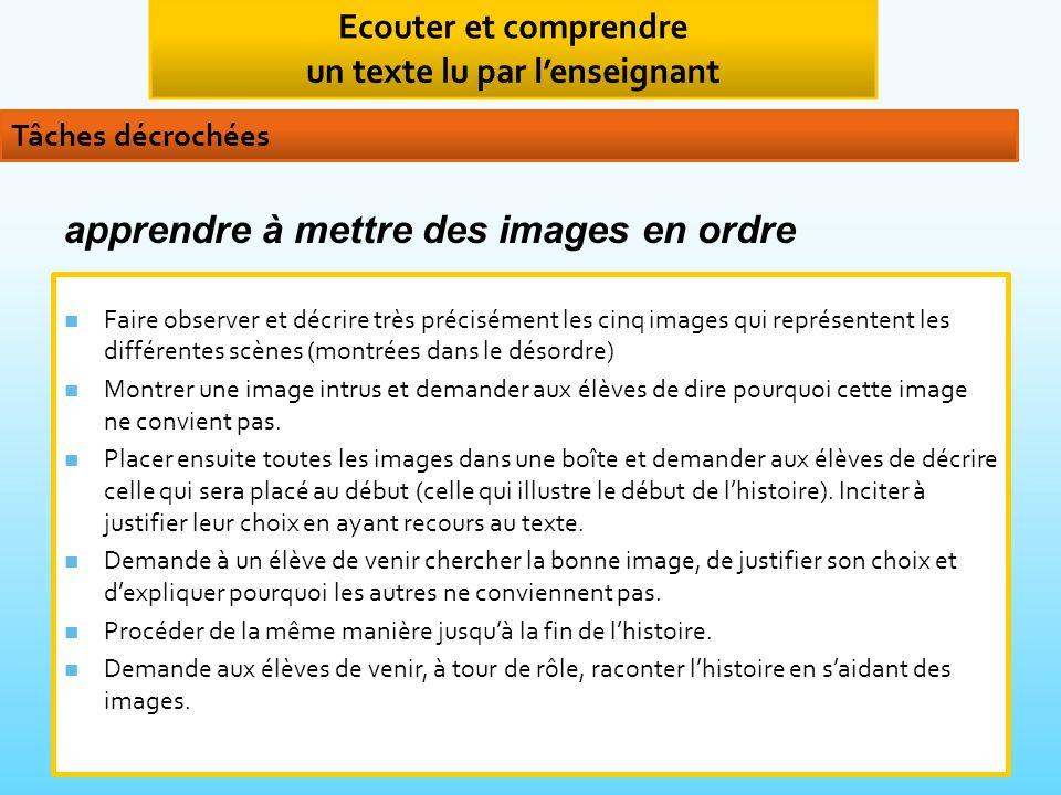 Faire observer et décrire très précisément les cinq images qui représentent les différentes scènes (montrées dans le désordre) Montrer une image intrus et demander aux élèves de dire pourquoi cette image ne convient pas.