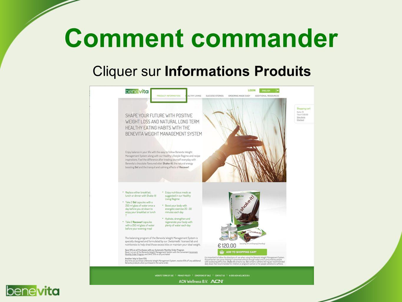 Comment commander Cliquer sur Informations Produits