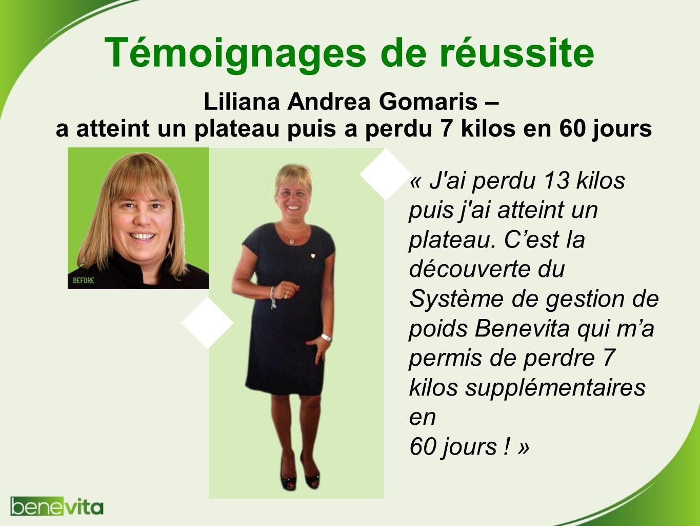 Témoignages de réussite Liliana Andrea Gomaris – a atteint un plateau puis a perdu 7 kilos en 60 jours « J ai perdu 13 kilos puis j ai atteint un plateau.