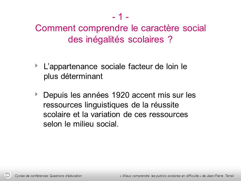 - 1 - Comment comprendre le caractère social des inégalités scolaires .