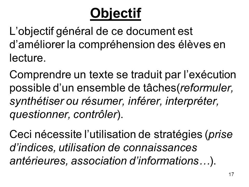 17 Objectif Lobjectif général de ce document est daméliorer la compréhension des élèves en lecture.