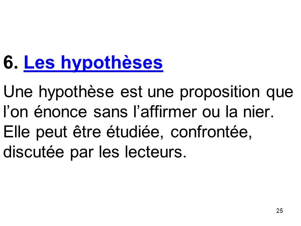 25 6.Les hypothèses Une hypothèse est une proposition que lon énonce sans laffirmer ou la nier.