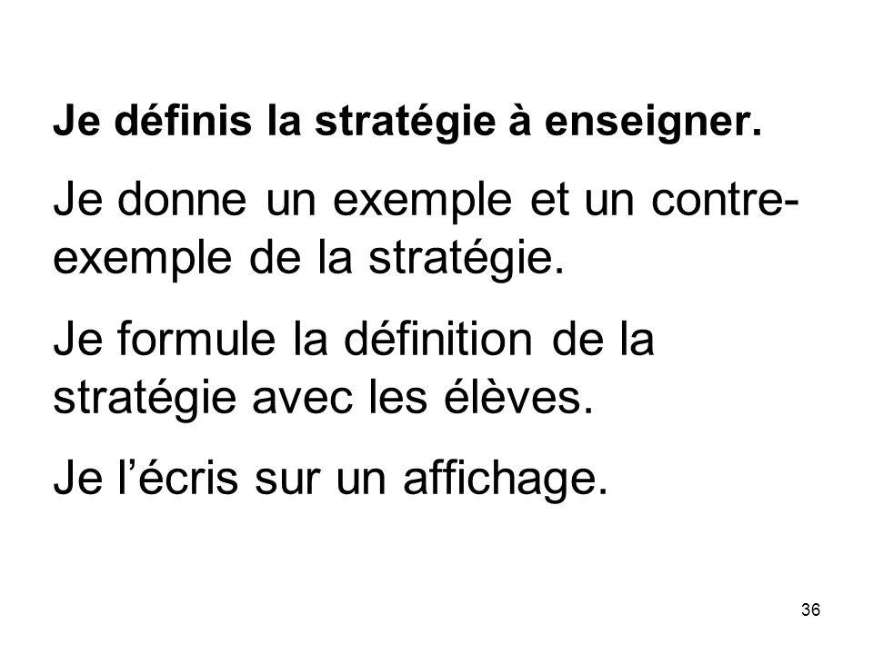 36 Je définis la stratégie à enseigner.Je donne un exemple et un contre- exemple de la stratégie.