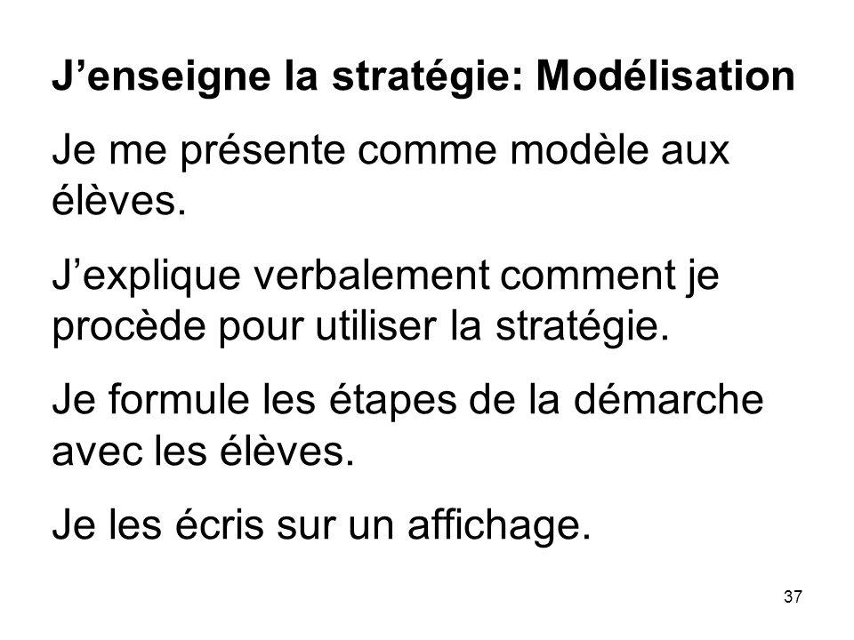 37 Jenseigne la stratégie: Modélisation Je me présente comme modèle aux élèves.
