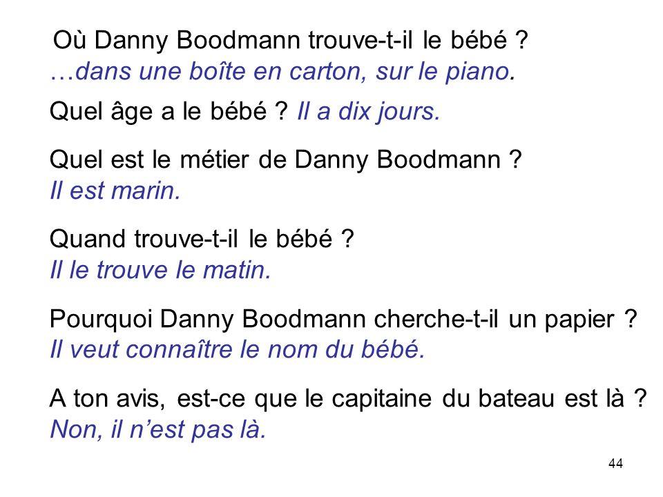 44 Où Danny Boodmann trouve-t-il le bébé .…dans une boîte en carton, sur le piano.