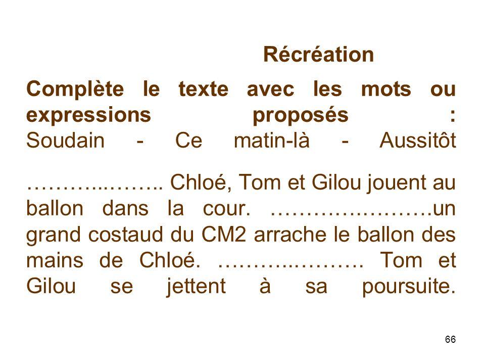 66 Récréation Complète le texte avec les mots ou expressions proposés : Soudain - Ce matin-là - Aussitôt ………...……..
