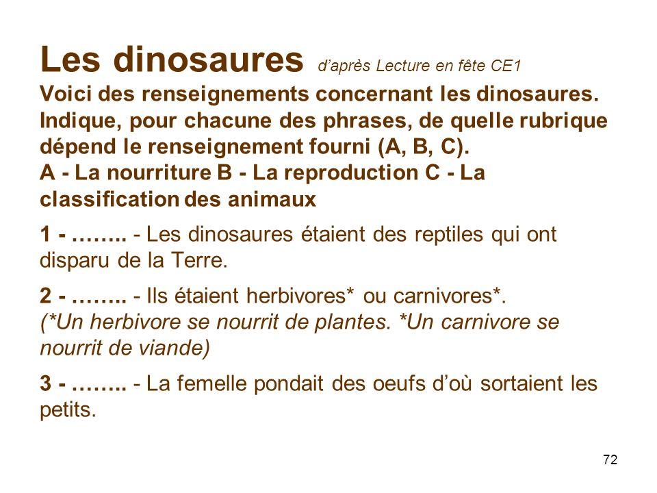 72 Les dinosaures daprès Lecture en fête CE1 Voici des renseignements concernant les dinosaures.