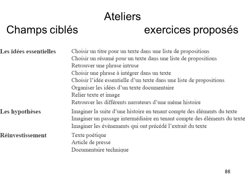 86 Ateliers Champs ciblés exercices proposés