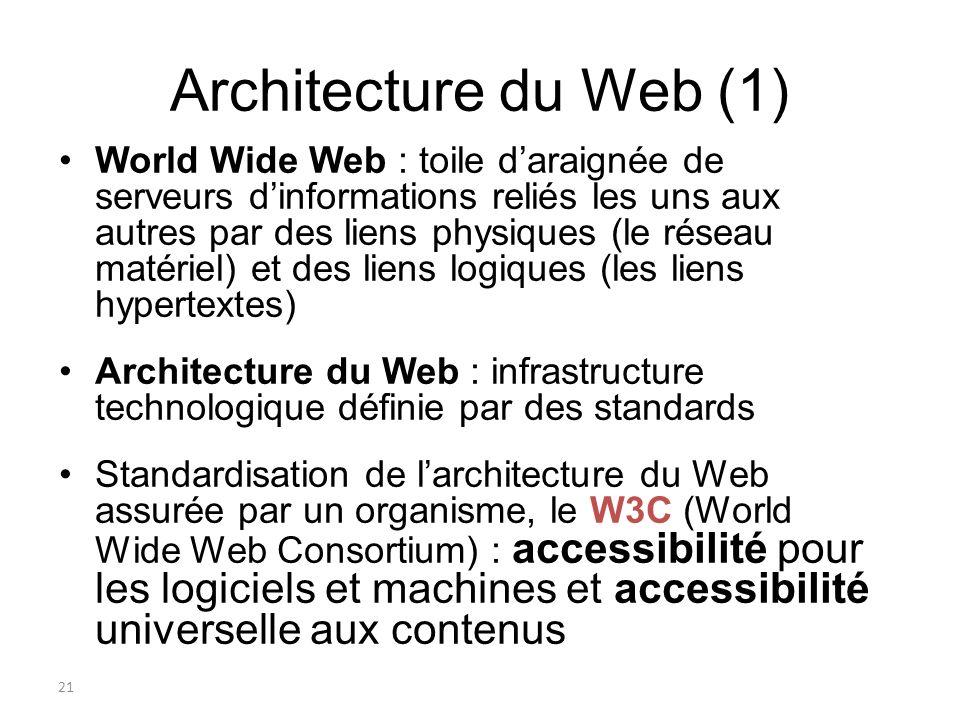 22 Architecture du Web (2) Repose sur 3 technologies : Un protocole : HTTP (Hypertext Transfer Protocol) Un langage : HTML (Hypertext Markup Language) –Standard défini par le W3C pour la diffusion de documents sur le Web pour pouvoir afficher de l information à l aide de balises dont le nombre est limité.