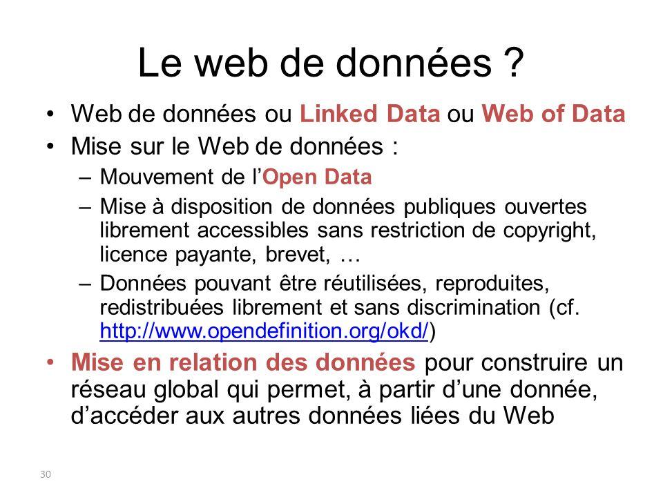 31 Le Web de données aujourdhui Liens entre les données et transformation du Web en une gigantesque base de connaissances distribuée