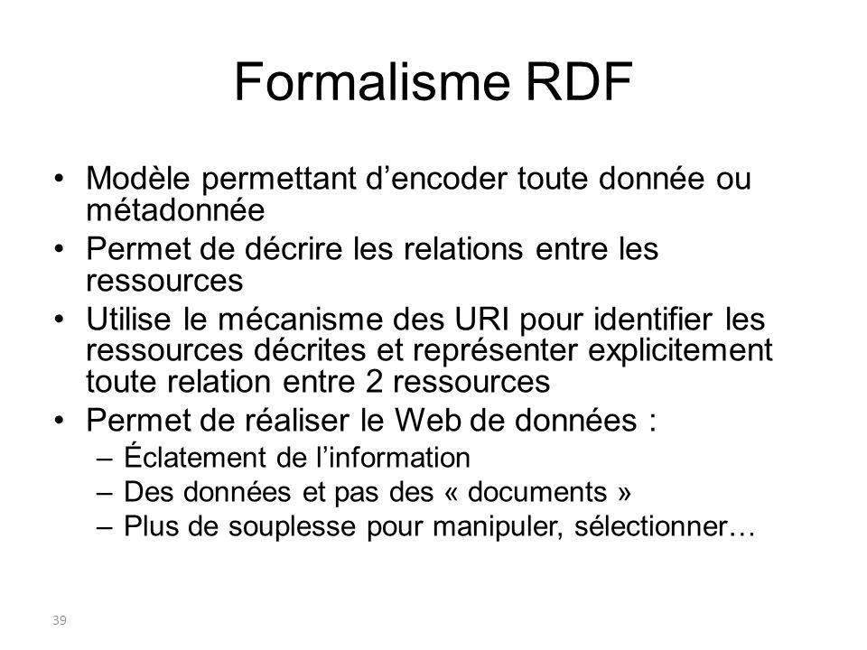 40 RDF : souplesse Cadre conceptuel de description des ressources applicable à nimporte quel domaine Permet de mélanger les vocabulaires Un modèle abstrait à représenter avec un langage concret Peut être exprimé en utilisant diverses syntaxes –RDF/XML (eXtensible Markup Language) : seule syntaxe qui fait lobjet actuellement dune recommandation du W3C –RDFa : syntaxe pour injecter du RDF dans une page Web… RDF rend les données extensibles : –Plus besoin de tout dire sur une ressource, une personne, etc.
