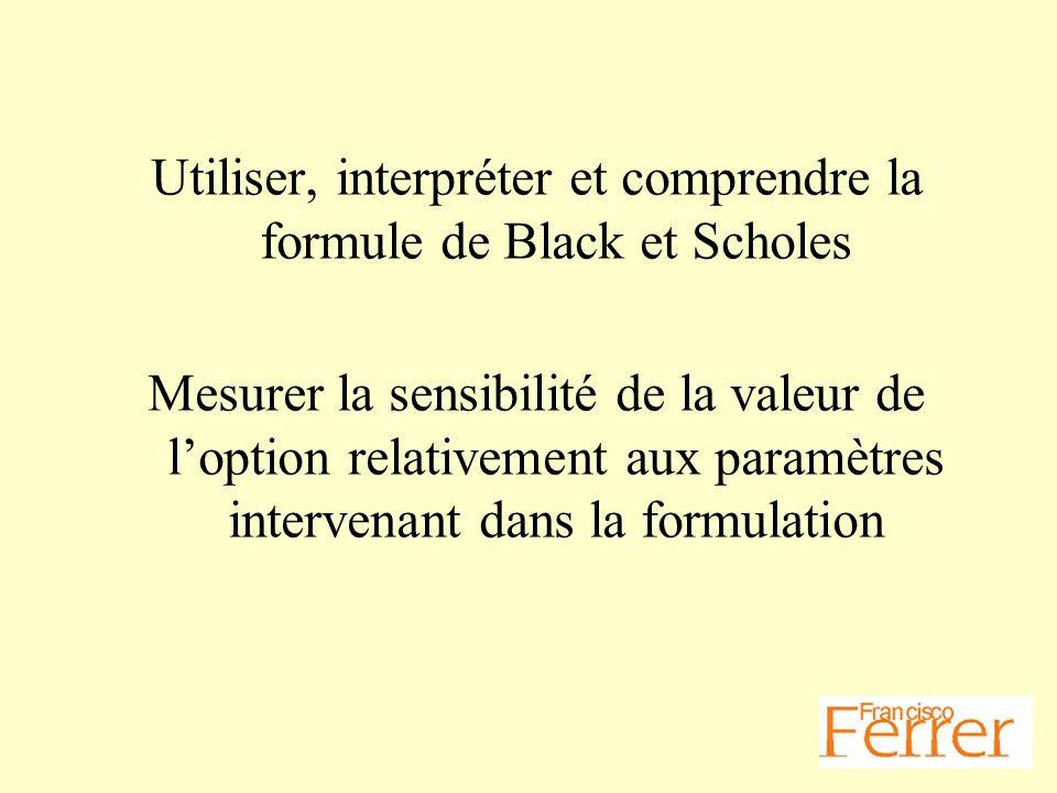 Utiliser, interpréter et comprendre la formule de Black et Scholes Mesurer la sensibilité de la valeur de loption relativement aux paramètres interven
