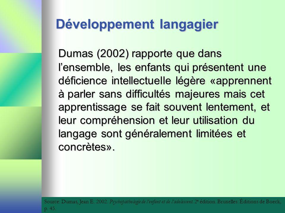 Développement langagier Dumas (2002) rapporte que dans lensemble, les enfants qui présentent une déficience intellectuelle légère «apprennent à parler