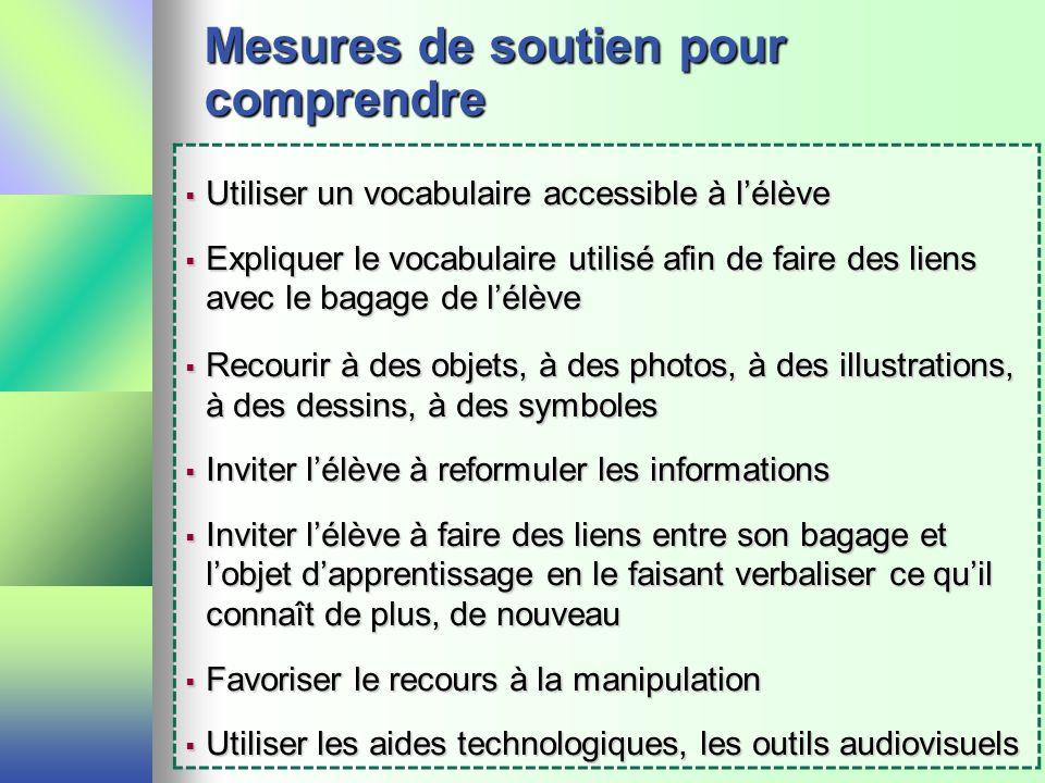 Mesures de soutien pour comprendre Utiliser un vocabulaire accessible à lélève Utiliser un vocabulaire accessible à lélève Expliquer le vocabulaire ut