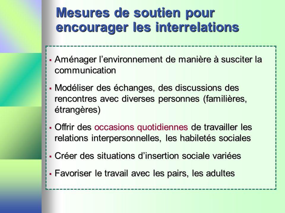 Mesures de soutien pour encourager les interrelations Aménager lenvironnement de manière à susciter la communication Aménager lenvironnement de manièr