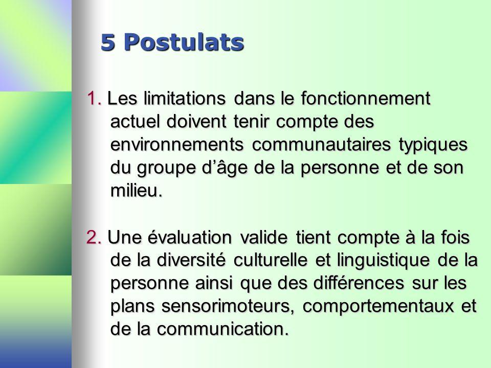 5 Postulats 1. Les limitations dans le fonctionnement actuel doivent tenir compte des environnements communautaires typiques du groupe dâge de la pers