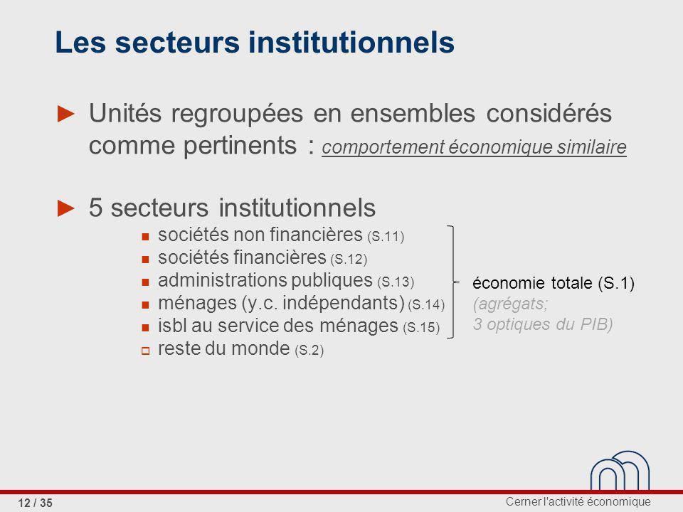 Cerner l activité économique 12 / 35 Les secteurs institutionnels Unités regroupées en ensembles considérés comme pertinents : comportement économique similaire 5 secteurs institutionnels sociétés non financières (S.11) sociétés financières (S.12) administrations publiques (S.13) ménages (y.c.