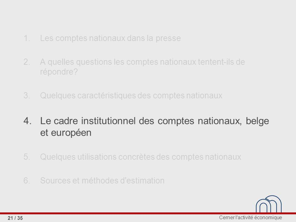 Cerner l activité économique 21 / 35 1.Les comptes nationaux dans la presse 2.A quelles questions les comptes nationaux tentent-ils de répondre.