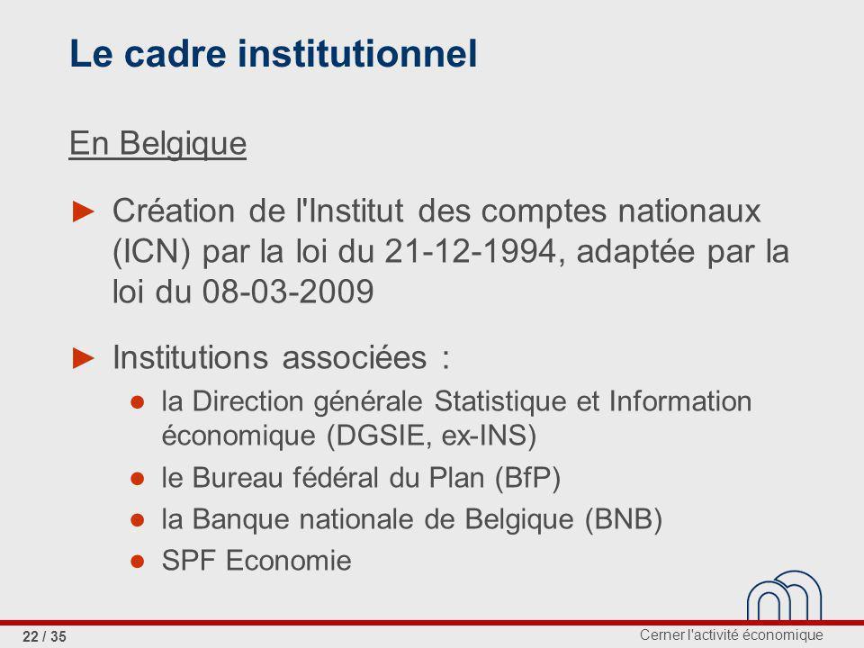Cerner l activité économique 22 / 35 Le cadre institutionnel En Belgique Création de l Institut des comptes nationaux (ICN) par la loi du 21-12-1994, adaptée par la loi du 08-03-2009 Institutions associées : la Direction générale Statistique et Information économique (DGSIE, ex-INS) le Bureau fédéral du Plan (BfP) la Banque nationale de Belgique (BNB) SPF Economie